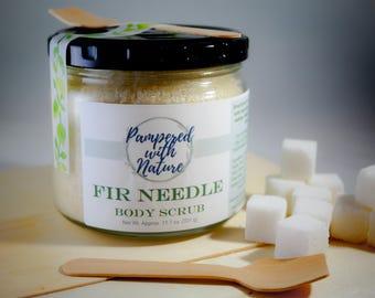 Balsam Fir Needle Natural Vegan Sugar Body Scrub 11.7 oz Holiday, Winter, Christmas, Christmas Tree