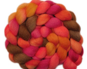 Hand dyed roving -  Blue Faced Leicester (BFL) wool spinning fiber - 4.1 ounces - Sultry Sundown