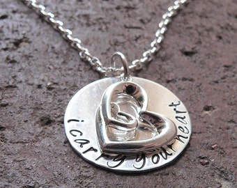 I Carry Your Heart ... customizable sterling silver necklace ... memorial, remembrance, memorium