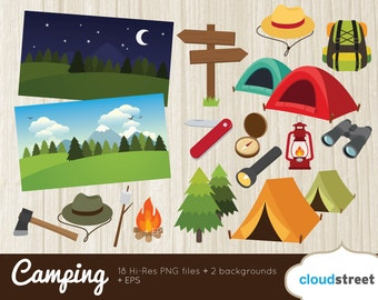 BUY 2 GET 1 FREE vector camping clipart / adventure clipart / hiking clipart / camping clip art / adventure clip art commercial use ok