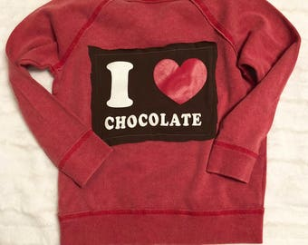 New Sweatshirt with ACDC patches and I love Chocolate patch on back, size 4T