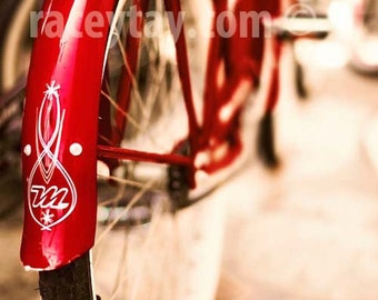 Red Bike Print, Travel Outdoor Gift, Beige, Red, Bike Art Print, Red Bicycle Photograph