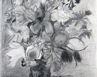 pencil drawing: mixed bouquet