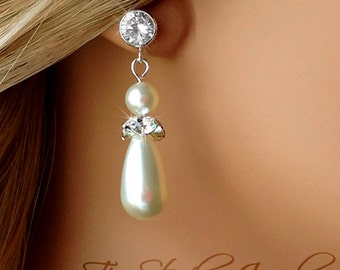Teardrop Pearl and Cubic Zirconia Bridal Earrings