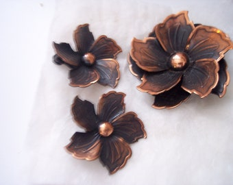 Gorgeous hand made copper Pin and Earring set