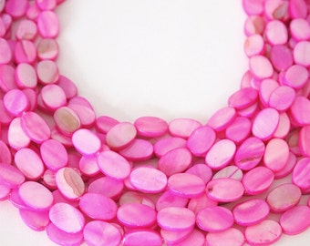Strand Mother Of Pearl Flat Oval Shell Beads Pink Size 15 x 10mm QTY approximately 26 beads