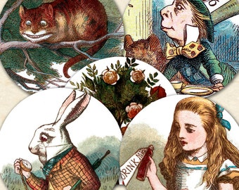 Printable Alice in Wonderland Tea Party, 1.25-inch Circles, Vintage Alice in Wonderland Download, Party Printable Collage Sheet - piddix 325