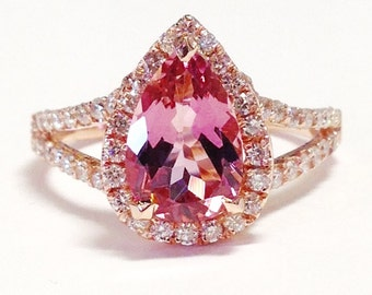 Pink Tourmaline Gemstone Color Stone Pear Shape Halo Split Art Deco Ring Diamond Engagement Rings Platinum 18K 14K White Yellow Rose Gold