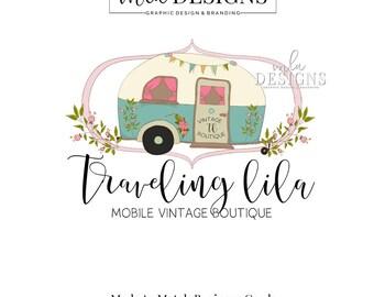 Camper Logo - Vintage Caravan Logo, Boutique Logo, Vintage Logo, Vintage Camper Logo, Boutique Branding, Traveling Caravan