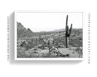 The Old West | Cactus Printable Poster | Black and white Cacti Photography | Desert wall art | modern decor | California eclectic Decor