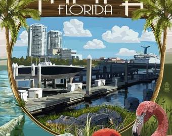 Tampa, Florida - Montage (Art Prints available in multiple sizes)