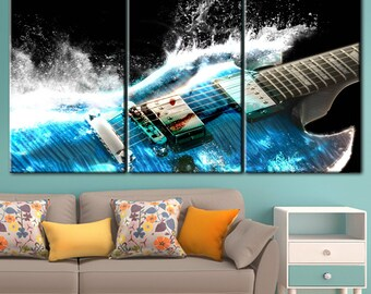 Guitar, Blue Guitar Art, Guitar water art, guitar art play, gift for him, bass guitar picture, Guitar Decor, printed guitar