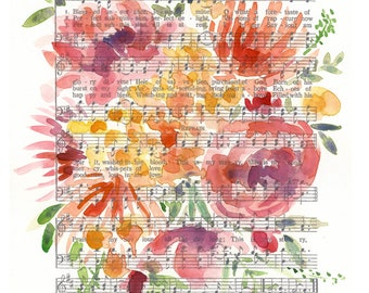 """Watercolor Hymn Print """"Blessed Assurance,""""  8""""x 10"""" art print, floral art print, watercolor florals, abstract floral painting"""