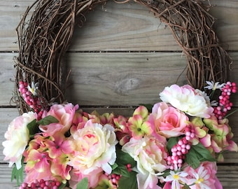 Spring and Summer wreath in pinks and whites
