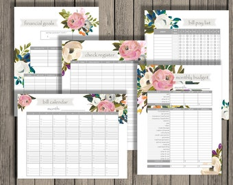 Budget Planner printable set, personlized monthly budget, financial goals, bill pay list and calendar, and check register. Full & Half page.