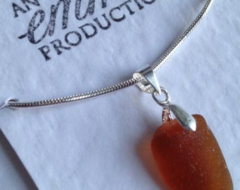 Orange Amber Sea Glass Pendant Necklace - Silver Plated - Beach Glass