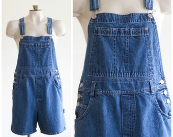 90s medium wash bib overall shorts
