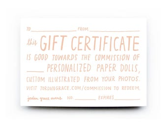 Paper Doll Portrait — Gift Certificate