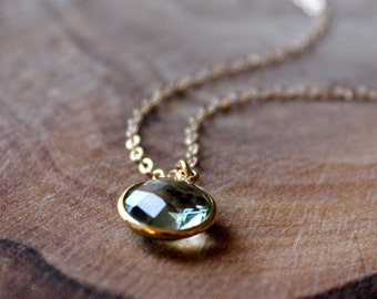 Green Amethyst Bezel Set Pendant Necklace - 14K Goldfilled....LIMITED EDITION