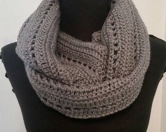 Gray infinity scarf, grey scarf, handmade crocheted item