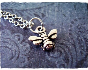 Tiny Silver Honeybee Necklace - Antique Pewter Honeybee Charm on a Delicate Silver Plated Cable Chain or Charm Only