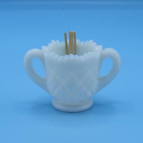 White Milk Glass Toothpick Holder Vintage Prescut Pineapple 1950s Double Handle Toothpick Holder Dinner Table Decor Thanksgiving Serving