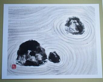 "Print: ""Rock garden"", Japanese ink drawing, sumi-e"