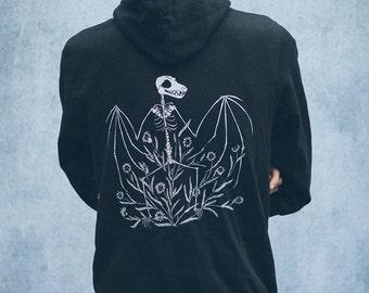 Bat Skeleton and Chicory Black Zip Up Screen Print Punk Fleece Hoodie