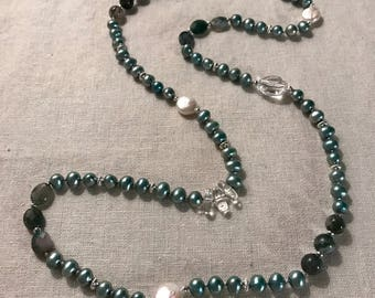 Blue Pearl and Moss Agate Necklace