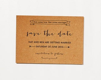 Printable Save The Date - First Comes Love / Rustic Typographic DIY Wedding Stationery
