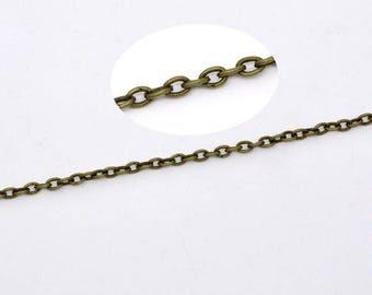 3 mètres de chaine maille forçat 3X2mm en métal bronze