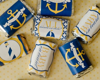 Nautical Baby Shower PRINTABLE Mini Candy Bar Wrappers (INSTANT DOWNLOAD) from Love The Day