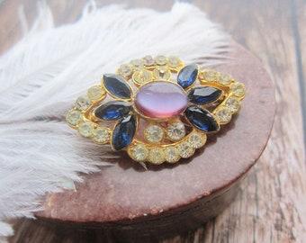 Mother day gift stunning brooch flower brooch vintage gold brooch 1960s' brooch vintage brooch USA AB crystal brooch Nest brooch rare brooch
