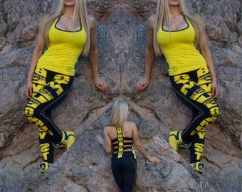 Beyond by st 'fractured' black/yellow leggings