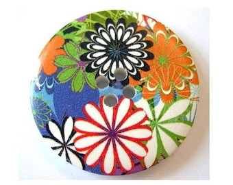 6 Wood  buttons 40mm,  colorful flowers in assorted colors