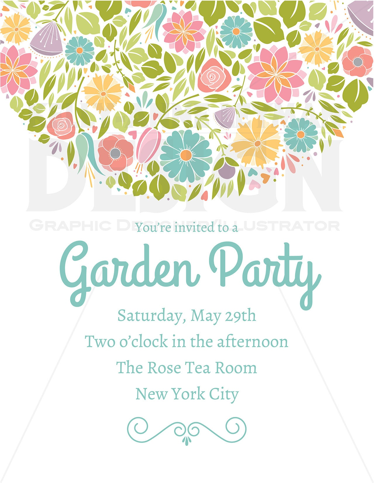 Spring Flower Wedding Party Invitation Clipart, Digital Borders ...