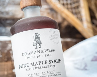 Pure Organic Maple Syrup. Unblended & Single Forest from Quebec, Canada.