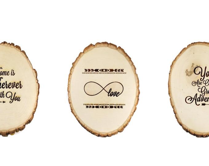 Tree slice Nursery Decor-Set of three wooden plaques