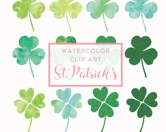 St.Patrick's Day Clip Art - Watercolor Clover Overlay - Handmade Watercolor Clip Art - St.Patricks Day Graphics - Four Leaf Clover - Clovers