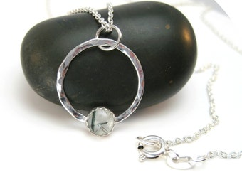 Rutile Quartz Necklace with Hammered Silver Circle Pendant