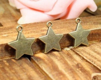 20 pcs Star Charms Antique Bronze Star Charms, Retro Charms 17mm -XS1321-HJ12