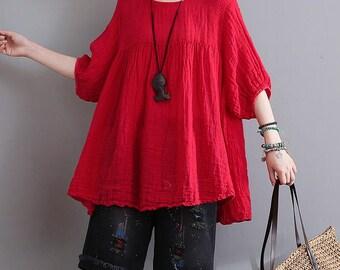 Women round neck tops comfortable linen tops summer loose blouse cotton t-shirt asymmetrical tops plus size clothing