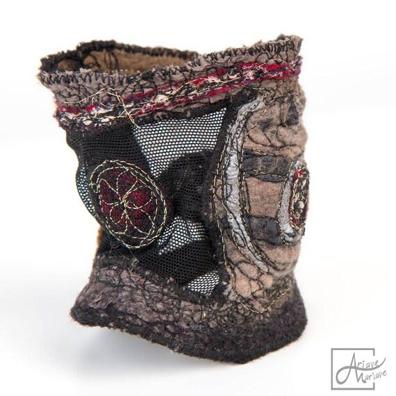 Embroidered felt Art Felt Bracelet hazelnut, black, cranberry silver. Nuno felt arm cuff jewelry. Elastic fiber art bracelet. Wearable art