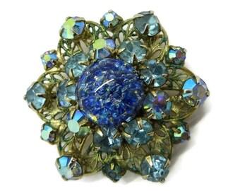 Blue Stone Brooch, Vintage Kramer Brooch, AB Rhinestone, Art Glass, Gold Metal Estate Jewelry, Gift idea, Gift Boxed