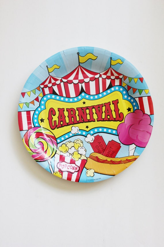 sc 1 st  Etsy & Sale 12 CARNIVAL BIRTHDAY PARTY Large Paper Plates Vintage