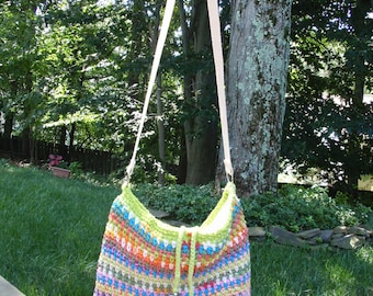 Cotton Tote Bag Crocheted in Multi Colors and Lined