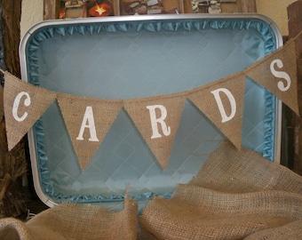 CARDS mini burlap banner, bunting, garland, pennant, Photo Prop, Wedding Decor