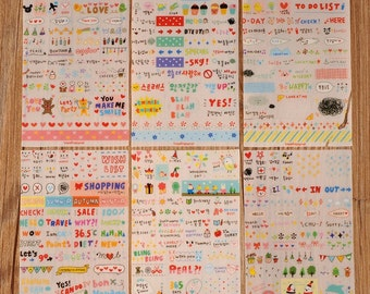 6 sheets of stickers for decoration and scrapbooking