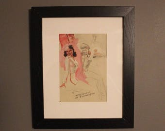 "Vintage Framed Brunette Pinup Girl ""We're Proud of Our Equipment Too"" Print"