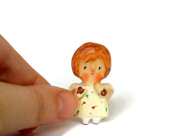 Hand carved wood angel Tiny doll Little angel Personal pocket angel Miniature wooden doll Small doll Personal gift Naive Mini gift 4.2cm